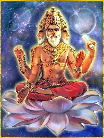 Brahma is commonly depicted with multiple heads and arms. It is said that with…