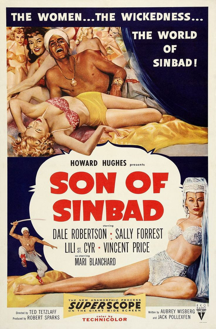 """Ted Tetzlaff's """"Son of Sinbad"""" (1955), starring Dale Robertson, Sally Forrest, Lili St. Cyr, Vincent Price and Mari Blanchard."""