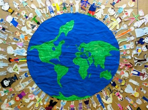 Really fun all school bulletin board.  All Around the World...