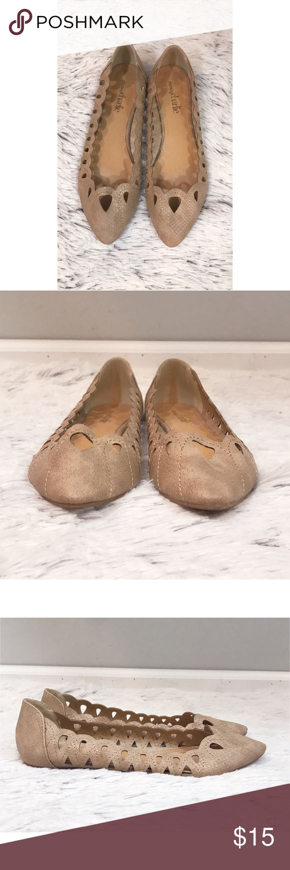 Charming Charlie tan flats Charming Charlie. Size 7. Tan flats with scalloped edges and openings on the toes. 😍 Charming Charlie Shoes Flats & Loafers