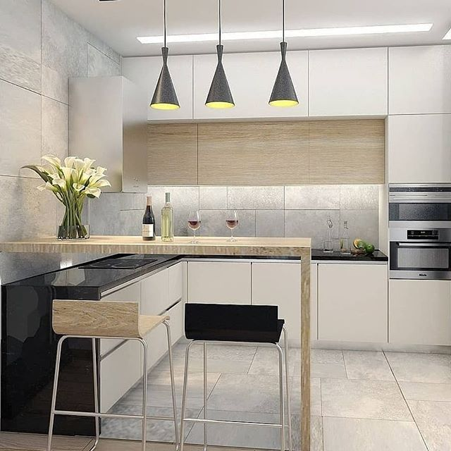 Another Small Kitchen With Breakfast Counter And Three Hanging Lights Interiordesign