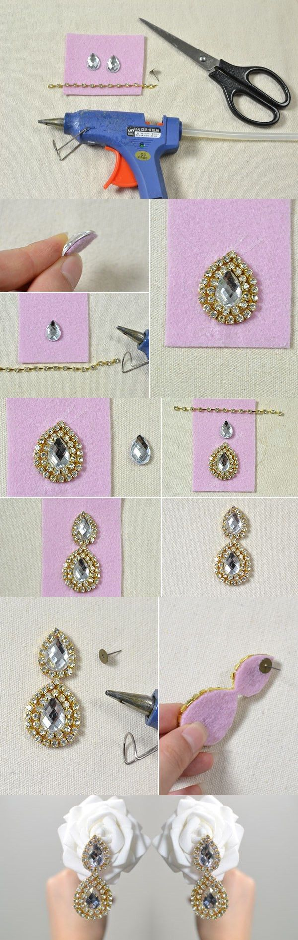 Tutorial on How to Make Drop Earrings with Rhinestone Beads from LC.Pandahall.com                              #pandahall