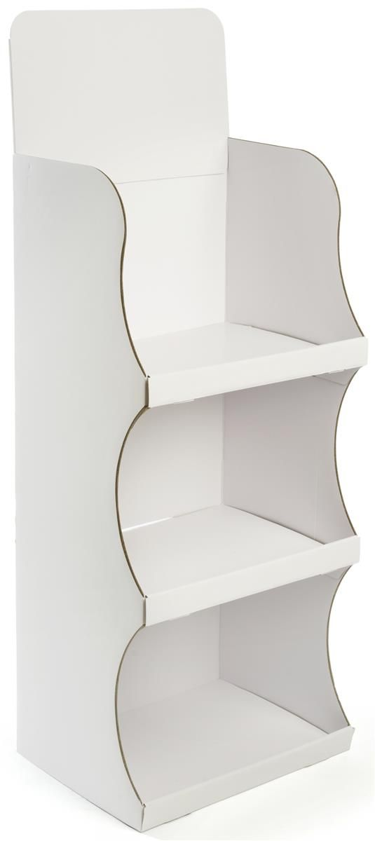 Floorstanding Cardboard Display with 3 Shelves & Removable Header - White