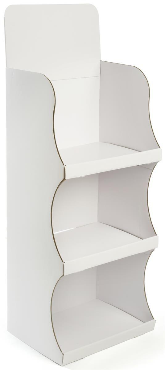 Floorstanding Cardboard Display with 3 Shelves & Removable Header - White
