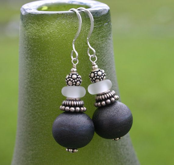 Grey Earrings, Lampwork Glass, Sterling Silver