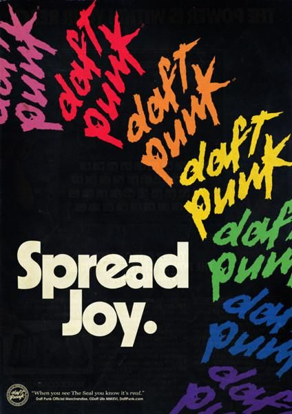 """""""Spread Joy."""" This Daft Punk multicolor logo sticker pack includes 9 durable screen printed die-cut stickers. Each set of 9 features 3 different sizes in 9 dif"""