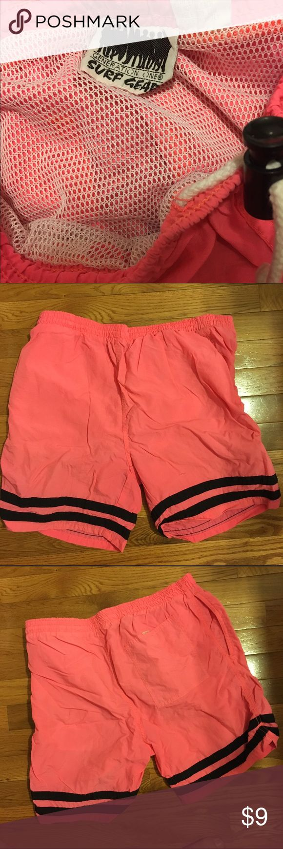 Generation One - Surf Gear - Men's Swim Trunks Super cool retro surf trunks. Mesh inner lining, neon pink with black stripes. Swim Swim Trunks