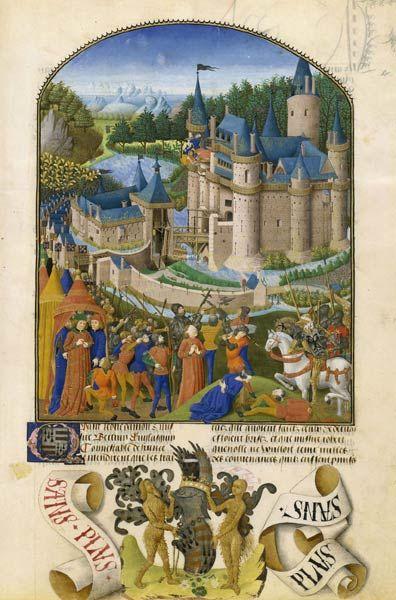 Le château complexe  Pierre Le Baud, Compilation des Chroniques et histoires des Bretons, 1480-1482, Paris, BnF, département des Manuscrits, Français 8266 fol. 281  Au cours des XIVe et XVe siècles, le château s'est développé pour combiner les fonctions résidentielles et militaires : au pied du donjon (à l'arrière-plan) sont édifiés des logis confortables (dotés de latrines et de cheminées) et une chapelle, autour d'une cour souvent transformée en jardin intérieur. Puissant, sa courtine est…