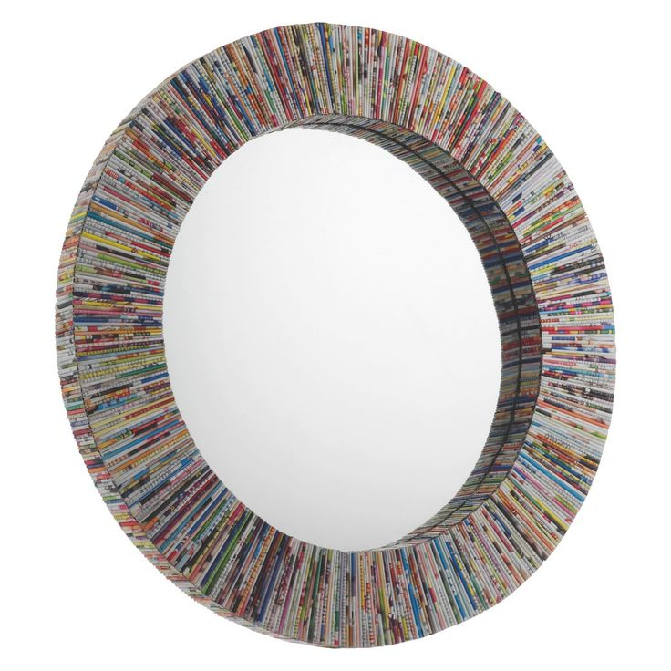 COHEN Multi-coloured recycled magazine round wall mirror | Buy now at Habitat UK
