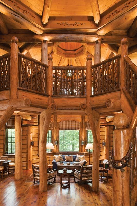 The 24-sided Russian Cabin features an onion-domed roof. The interior logs of the building were hand-flattened, while exterior logs were left in their full-round state. The architectural design blends Russian styles with Adirondack touches to create an unusual and distinctive look.