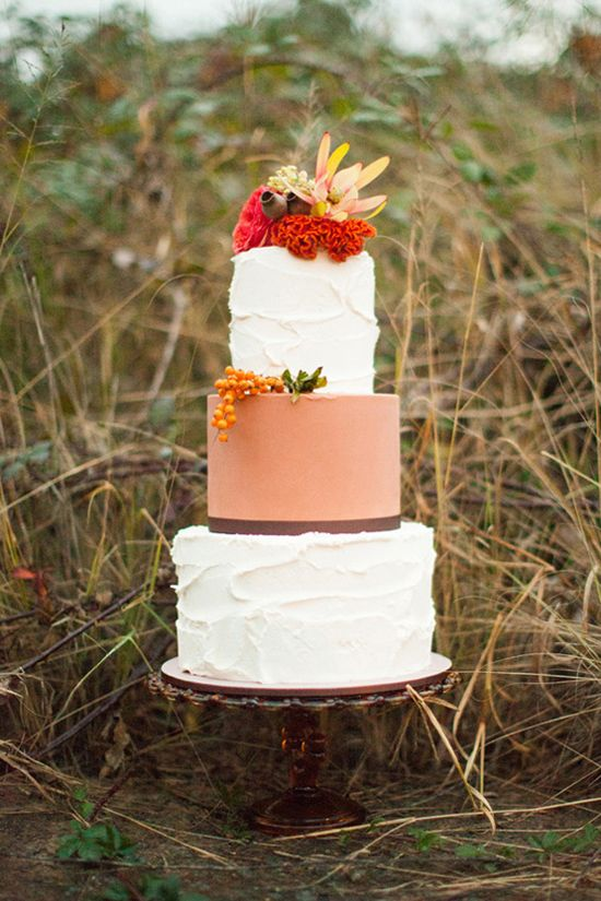 Whimsical Autumn Wedding Inspiration Cake by Yummy Cupcakes, Photo by Leah Kua
