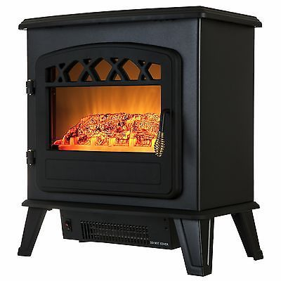 20 Black Color 1500W Adjustable Freestanding Electric Fireplace Heater Stove