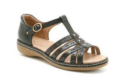 """EXPIRED """"Ruth Elana"""" K / Clarks shoes. Women's T-bar sandals in soft black leather. £49.99"""