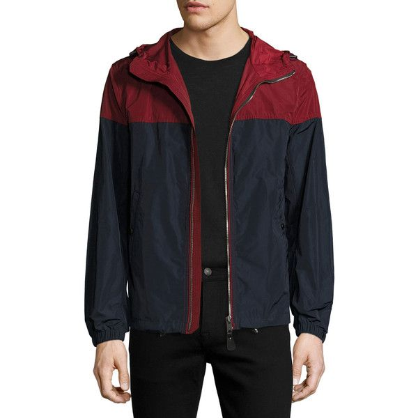 Burberry Colorblock Technical Jacket w/Hood (1,100 CAD) ❤ liked on Polyvore featuring men's fashion, men's clothing, men's outerwear, men's jackets, red, mens light weight jackets, mens lightweight jacket, mens red jacket, mens hooded jackets and mens nylon jacket