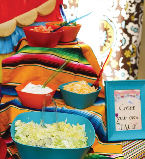 Use a mexican poncho as a table cover!