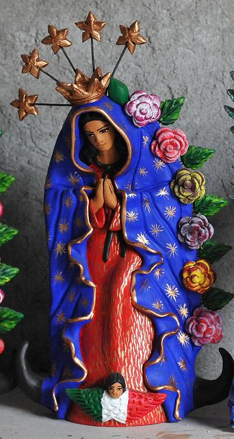 La Virgen de Guadalupe ~ This lovely ceramic work is the product of Concepcion Aguilar of Ocotlan, Oaxaca Mexico ~ by Teyacapan