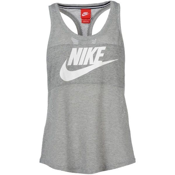 Nike Top (135 BRL) ❤ liked on Polyvore featuring tops, shirts, sport, tank tops, tanks, light grey et nike