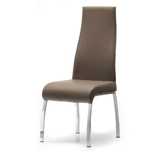 Silla en piel textil moka con patas cromadas sillas y for Sillas comedor patas cromadas