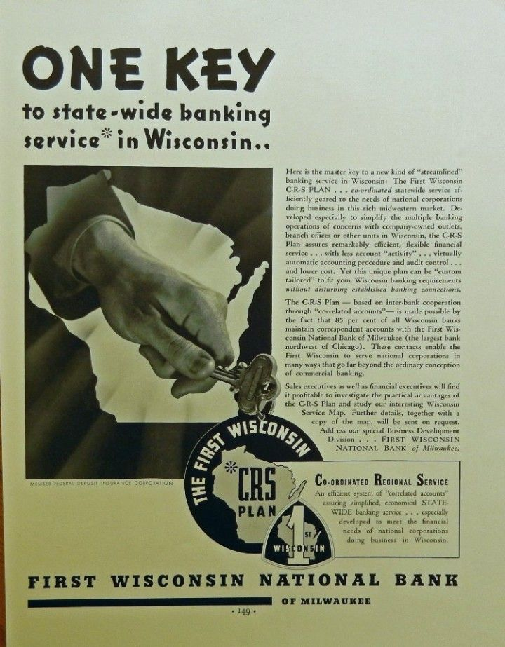First Wisconsin National Bank Of Milwaukee Original 30 S Print Ad B W Illustration One Key Print Ads Wisconsin American Illustration