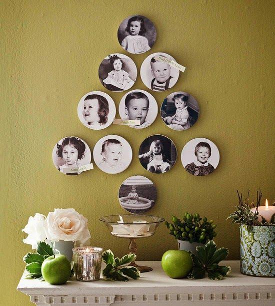 Árvore de Natal feita com cd´s e fotos