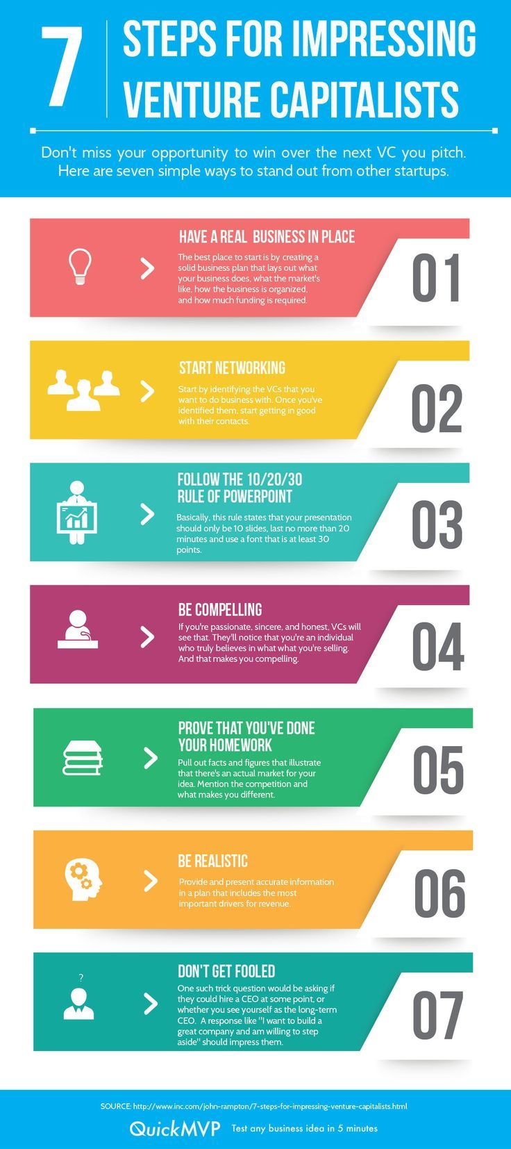 7 Steps for Impressing Venture Capitalists infographic