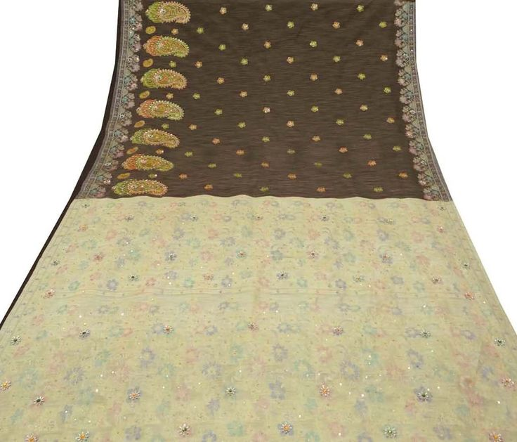 Vintage Saree Polyester Hand Beaded Long Fabric Indian Traditional Clothing Curtain Drape Craft Brown Used  Sari A13118 by VintageHaat on Etsy https://www.etsy.com/au/listing/256981606/vintage-saree-polyester-hand-beaded-long