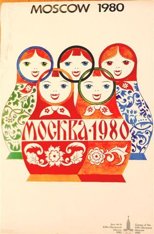 1980 Moscow Olympics vintage matryoshka poster. Afiche de los Juegos Olimpicos de Moscu-1980.