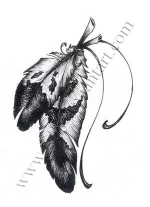 Eagle Feather Feather Tattoo  behind the ear