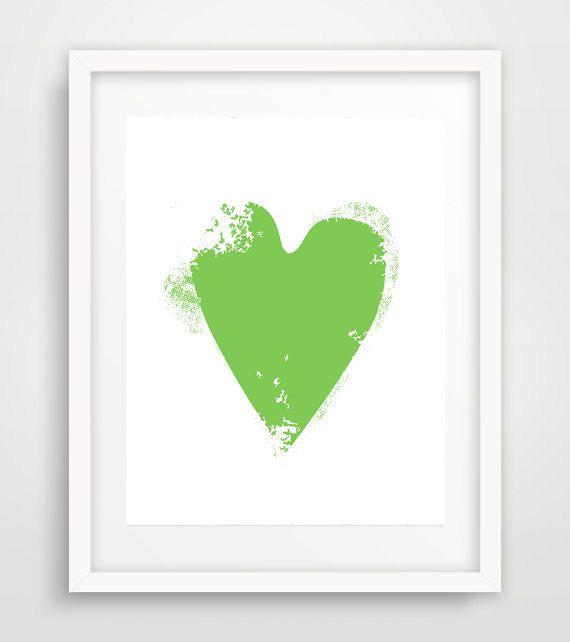 Green heart green heart print green wall art green by Ikonolexi
