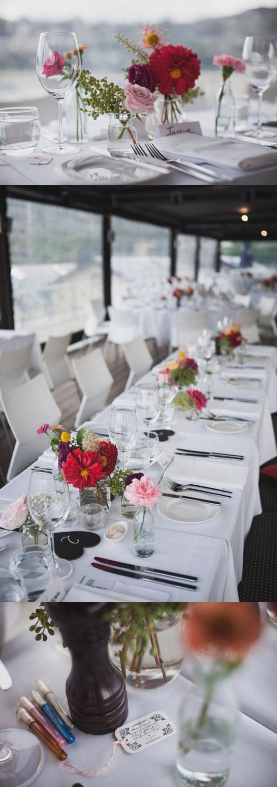 Gorgeous flowers at wedding table setting | Ripples Chowder Bay | Desmond & Katherine | Polachinka Photography | Sydney Australian wedding photographers