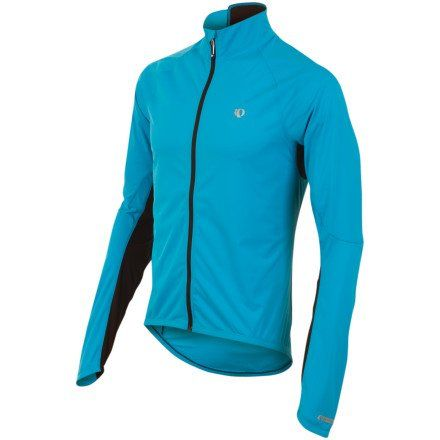Pearl Izumi Elite Aero Jacket - Men's Electric Blue, S - Men's. The Pearl Izumi Elite Aero Jacket is available in sizes Small to X-Large and in the colors: Electric blue, White, and Black. The high collar tapers from front to back so that it doesn't chafe your chin while riding. The jacket is not waterproof, but will keep you dry in a light mist. Season: spring, fall, winter. Material: [body] Softshell Lite (polyester), [mesh] Direct-Vent (polyester). Pearl Izumi's Elite Aero Jacket...