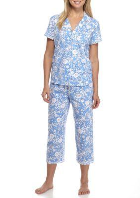 Karen Neuburger Women's Petite Short-Sleeve Girlfriend Capri Pajama Set - Floral Chambray Multi - Pl