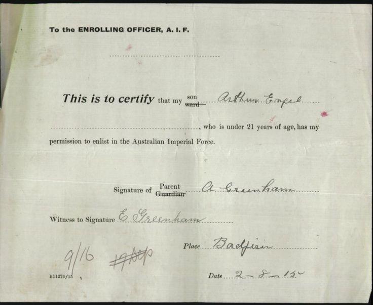 GREENHAM Arthur Engle : Service Number - Depot/2891 : Place of Birth - Dartmoor VIC : Place of Enlistment - Blackboy Hill WA : Next of Kin - GREENHAM Albert