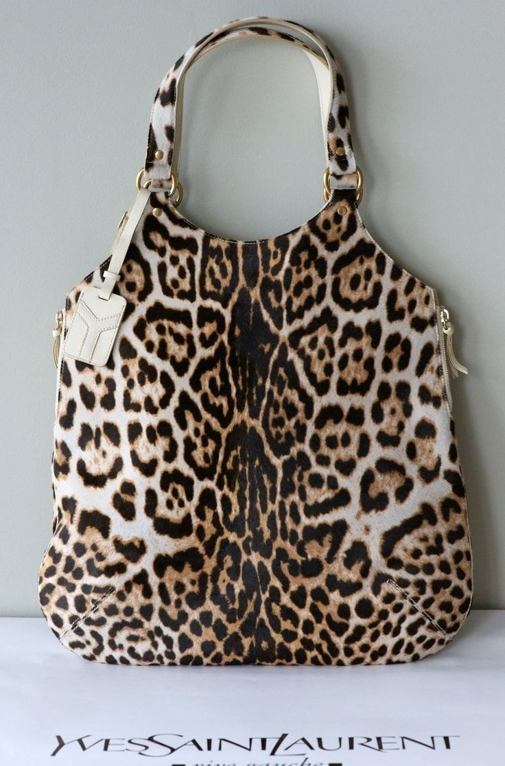 Ysl tribute tote snow leopard white leather \u0026amp; fur handbag shoulder ...