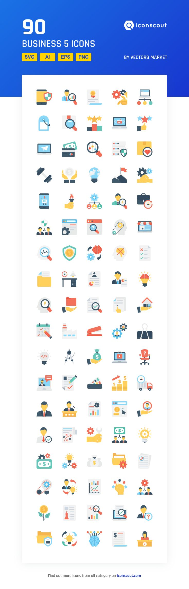 Business 5  Icon Pack - 90 Flat Icons