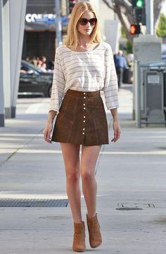 rosie huntington whiteley look saia suede street style