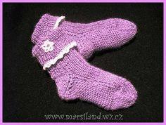 Ruční práce - pletené a háčkované drobnosti pro dětičky: Dětské ponožky pletené na dvou jehlicích