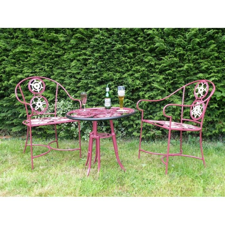 Bicycle Cog iron Art metal table in Claret red, Raleigh, BSA, Parts outdoor heavy robust and high end designer garden industrial designed Bistro furniture U.K