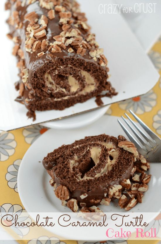 Chocolate Caramel Turtle Cake Roll by www.crazyforcrust.com   Chocolate Cake filled with whipped caramel - this is love! #caramel #turtle #cake