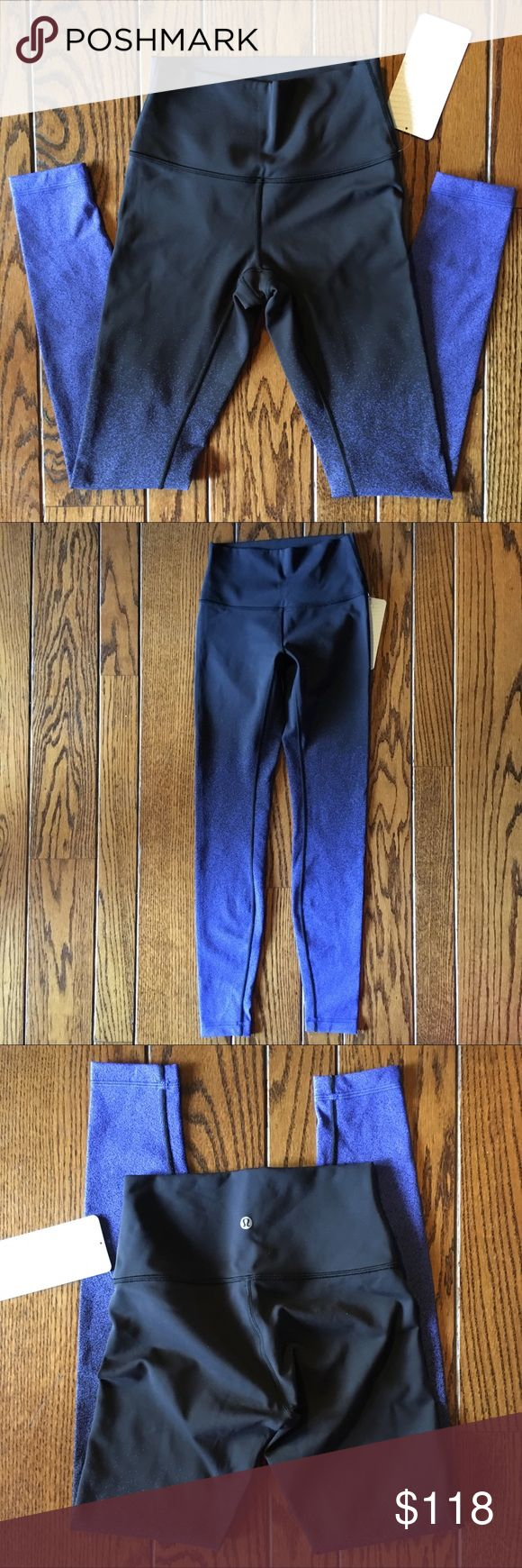 """NWT *RARE* Lululemon Wunder Under HighRise Legging Black and blue patterned lululemon wunder under HR tights that were designed to fit like a second skin-perfect for yoga or the gym. The Full-on Lyon fabric is soft, sweat-licking, and has a four-way Stretch. Super cute lululemon pattern! Waist band pocket holds your key or card. Waistband lies flat against your skin. Size 4. 79% nylon, 21% elastane.  Rise: 8.5"""" Inseam: 27"""" Waist Flat: 11"""" Ankle width: 3.75""""  No trades please, offers welcome…"""