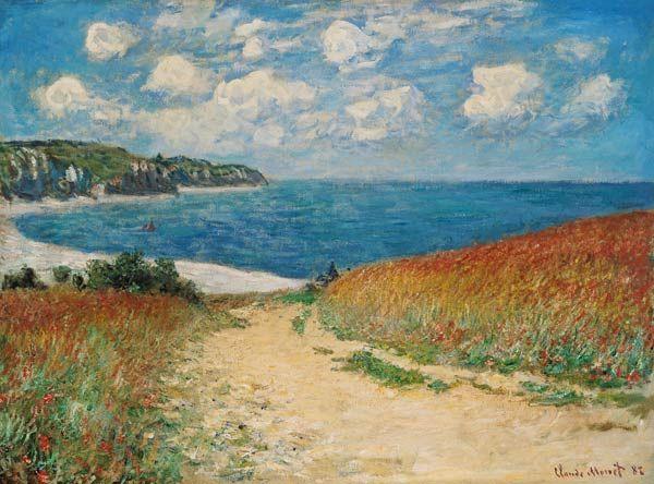 Claude Monet-Strandweg zwischen Weizenfeldern bei Pourville