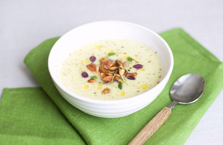 Cauliflower Leek Soup Recipe Soups with extra-virgin olive oil, onions, garlic, chili powder, cauliflower, leeks, water, lemon juice, fresh thyme, sea salt, pepper, roasted almonds