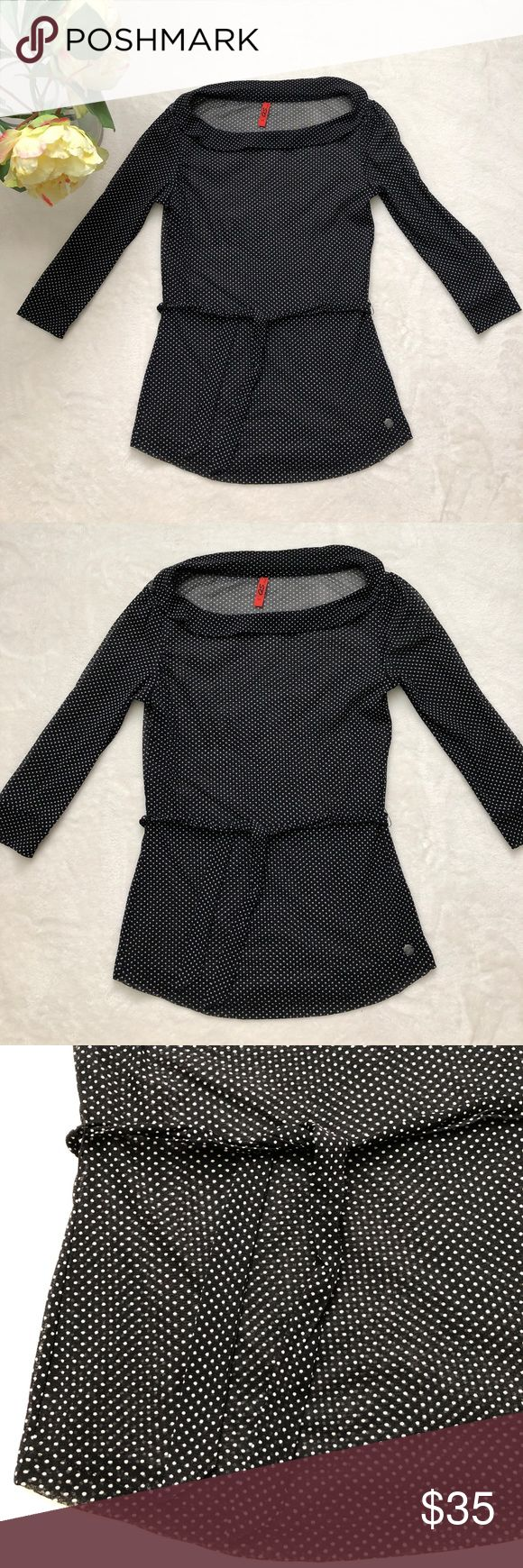 """⭐️Oliver⭐️ polka dots black with white top 🌺Approximately measurements: Length: 24"""" Armpit to armpit:15"""" Sleeve:from shoulder to end:16"""" 🌸Materials: 100% polyester  🌷Condition: This item is pre-owned but in great condition with no stains. Comes from a smoke free home.  💐Size: USA XS QS By OLiver Tops Tees - Long Sleeve"""