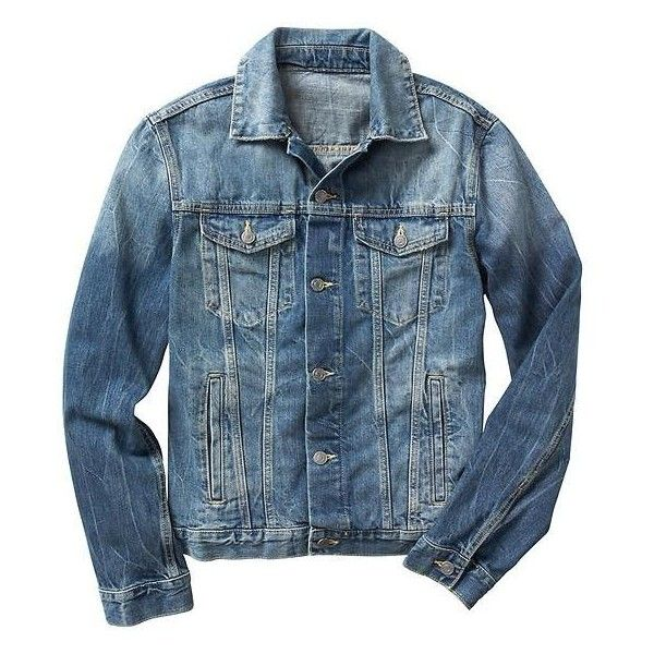 Gap Men 1969 Denim Jacket ($45) ❤ liked on Polyvore featuring men's fashion, men's clothing, men's outerwear, men's jackets, mens denim jacket, gap mens outerwear, mens jackets and gap mens jackets