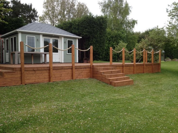 The 25 best ideas about rope fence on pinterest for Garden decking fencing