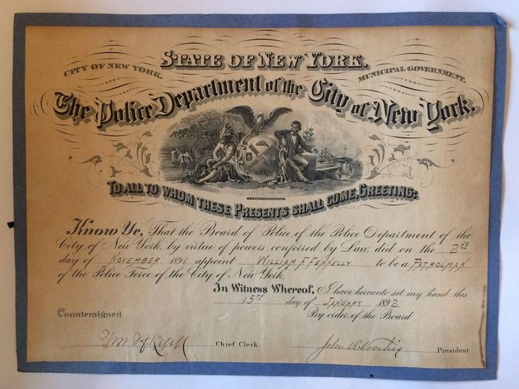 New York City Police Department NYPD Appointment Certificate 1892 Antique VTG