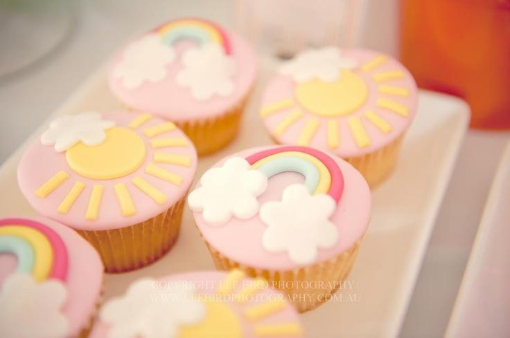 sun & rainbow cupcakes