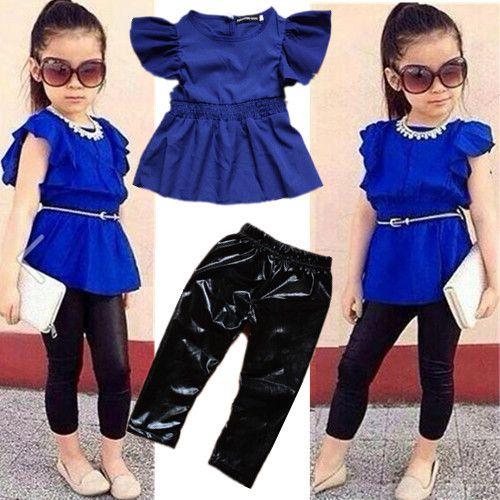 2014-new-fashion-summer-children-girls-clothing-sets-blue-shirt-dress-black-leggings-cool-baby-kids.jpg (500×500)