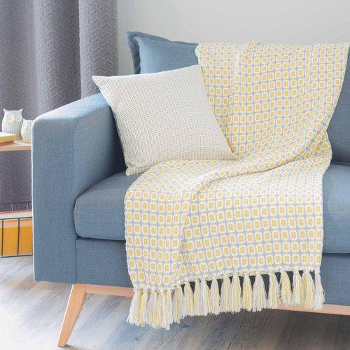 Plaid in tessuto giallo 127 x 152 cm RUBIK