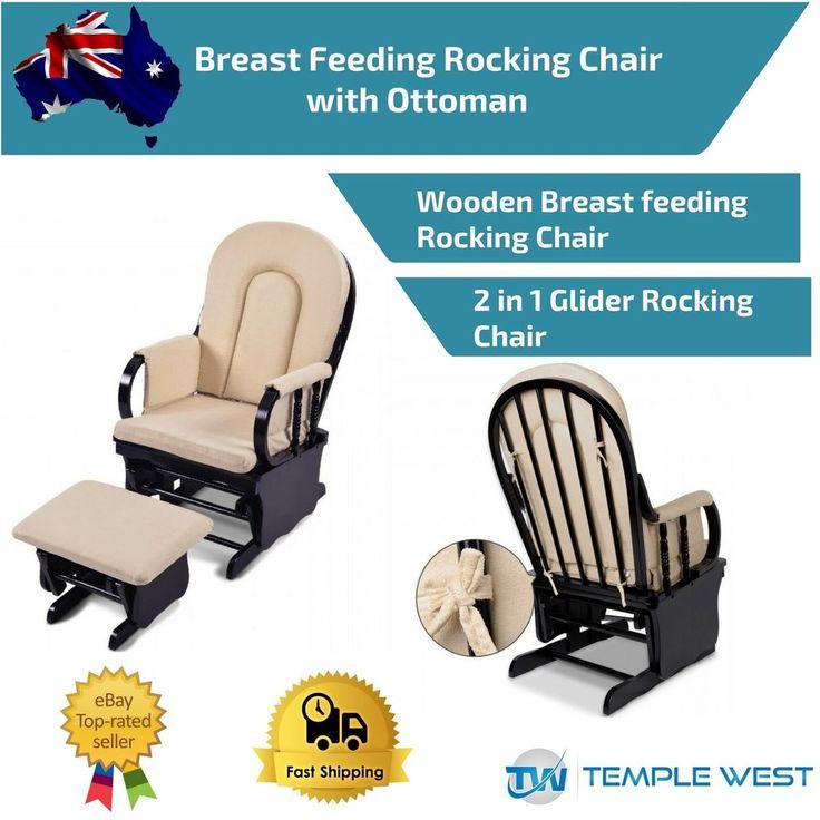 Wooden Rocking Chair Ottoman Soft Sliding Glider Baby Breast Feeding Nursery NEW